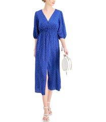 taylor printed smocked-waist dress