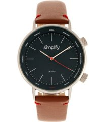 simplify quartz the 3300 genuine brown leather watch 43mm