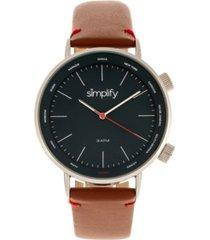 simplify quartz the 3300 genuine brown leather watch 43mm