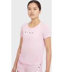 polera nike w nk swoosh run top ss rosa - calce regular