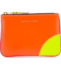 comme des garçons wallet colour blocked zipped purse - orange