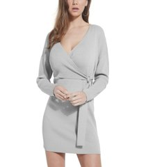 guess emi wrap-front sweater dress