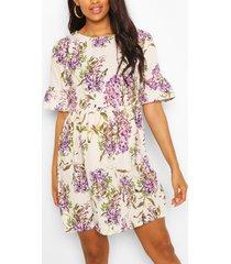maternity satin floral print smock dress, cream