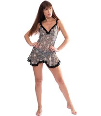 camisola thais gusmã£o acinturada rendinha black  - feminino - renda - dafiti
