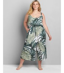 lane bryant women's printed cover-up jumpsuit 26/28 grand palms