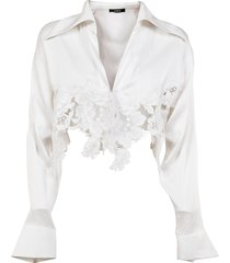 amen blouse in satin and lace