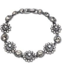 marchesa hematite-tone crystal & imitation pearl flower flex bracelet