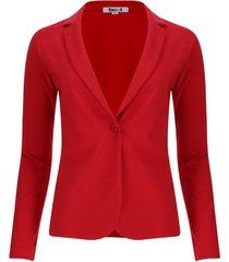 chaqueta tipo blazer unicolor color rojo, talla m