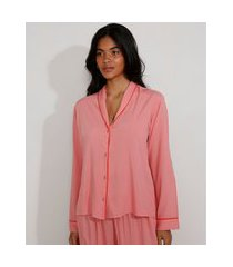 camisa de pijama feminino com vivo contrastante manga longa rosa