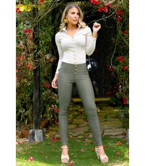 pantalón outfit 1090 para mujer verde militar