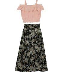 rare editions big girls tiered maxi skirt set, 2 piece
