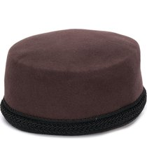 yves saint laurent pre-owned 1980's trimmed pillbox hat - brown