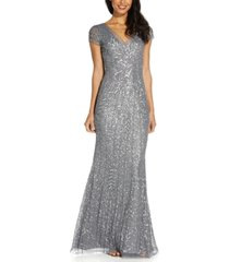 adrianna papell beaded sequin mermaid gown