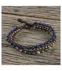 agate and lapis lazuli beaded bracelet, 'lovely voice' (thailand)