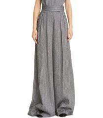 women's max mara ofanto wide leg chevron tweed pants, size 6 - black