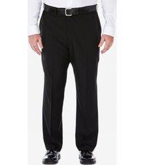 haggar men's big & tall eclo stria classic-fit flat-front hidden expandable waistband dress pants