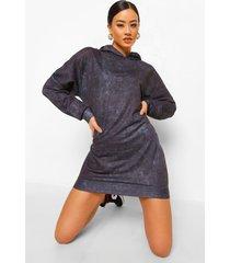 acid wash gebleekte oversized hoodie jurk, houtskool