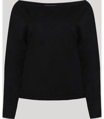 blusa de moletom feminina ombro a ombro manga longa preta