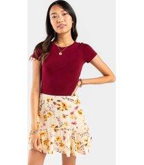 destiny floral godet mini skirt - beige