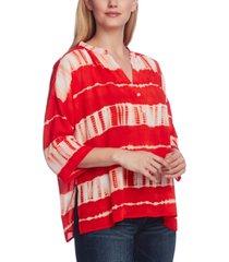 vince camuto split neck shibori stripe dolman sleeve blouse