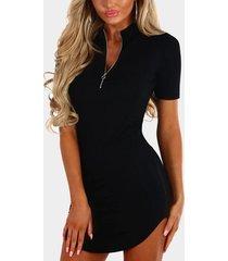 negro cremallera frontal redondo cuello manga corta mini vestido