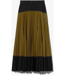 crepe colorblock pleated skirt