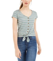 pink rose juniors' ribbed tie-front top
