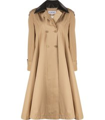 loewe contrast-collar flared coat - neutrals