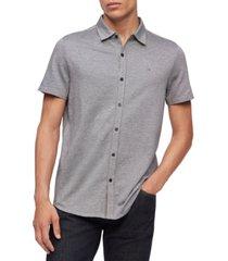 calvin klein men's birdseye button-down short sleeve shirt