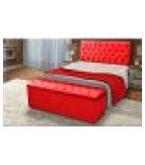 cabeceira e calçadeira baú casal queen 160cm para cama box sofia suede vermelho - ds móveis
