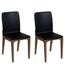 conjunto com 2 cadeiras darwin preto e freijó