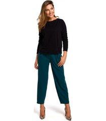 blouse style s180 trui met split in de zoom - zwart
