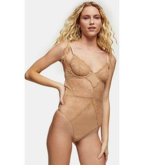 tan underwire lace bodysuit - tan