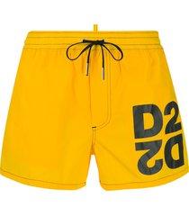 dsquared2 logo drawstring swim shorts - yellow