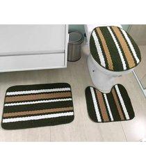 jogo de banheiro tapetes jr onix pop 3 peças verde musgo