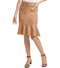 calvin klein ruffle-hem a-line skirt