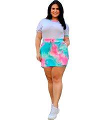 conjunto de shorts saia com t -shirt summer body viscolycra tie dye - azul - kanui