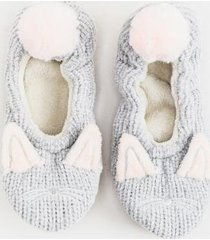julia rabbit slip on ballet slipper socks - gray