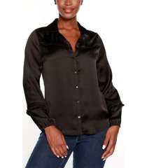 belldini black label button front collared blouse top