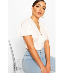 angel sleeve woven button through top, white