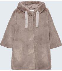 motivi cappotto con cappuccio in simil pelliccia donna grigio