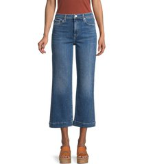7 for all mankind women's alexa wide-leg cropped jeans - blue - size 25 (2)
