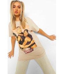 gelicenseerd oversized tlc t-shirt, stone