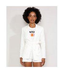 blazer feminino com bolsos e cinto branco