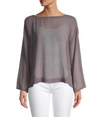 eileen fisher women's ballet silk box top - luna - size xl