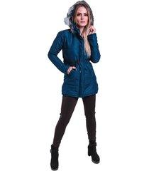 jaqueta casaco sobretudo acolchoado acinturado capuz removãvel acinturado veludo azul marinho - azul marinho - feminino - algodã£o - dafiti