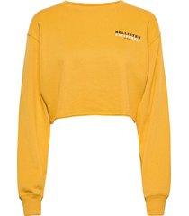 chain mfm crew sweat-shirt tröja gul hollister