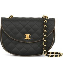 chanel pre-owned cc single chain shoulder bag - black