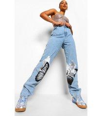 boyfriend jeans met vlinder, mid blue
