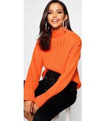 tall geribbelde top met omgeslagen mouwen, oranje